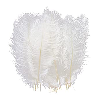 AWAYTR 10pcs Natural Ostrich Feathers for Wedding Centerpieces Home Decoration  10-12 inch White