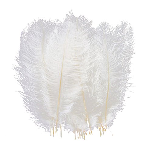 LanShi Natural 16-18 inch(40-45cm) Ostrich Feathers Plume for Wedding Centerpieces Home Decoration White 50 Pcs