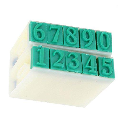 Kcopo Gummikopf 10 Ziffern arabische Ziffern Kombinationsblock Stempel Kunststoff Gummi 0–9 Ziffern arabische Ziffern Stempel Grün 9mm×5mm