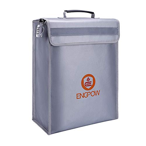ENGPOW Large Fireproof Bag,Fireproof Lock Box Bag Document Bag Money Bag with Combination Lock Zipper Closure,Fireproof Safe and Water Resistant Storage for Documents,Money,Valuables (16'x12'x4')