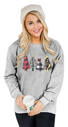 MNLYBABY Women Leopard Printed Plaid Trees Christmas Sweatshirt Long Sleeve Lightweight Pullover Tops Blouse Grey