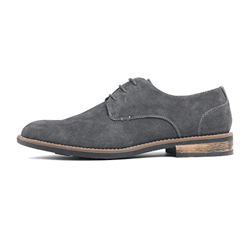 Bruno Marc Men's URBAN-08 Grey Suede Leather Lace Up Oxfords Shoes – 10.5 M US