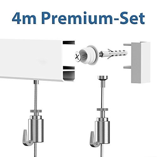 Leha Bilderschienen Galerieschienen Bilderleiste Premium Komplett-Set 4m weiß
