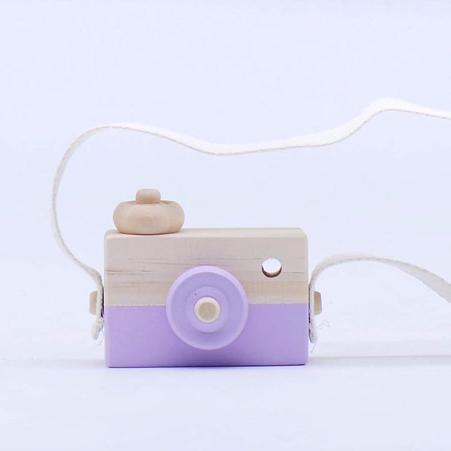 扇動する添加下るミニかわいい木製カメラのおもちゃ安全なナチュラル玩具ベビーキッズファッション服アクセサリー玩具誕生日クリスマスホリデーギフト (紫の)