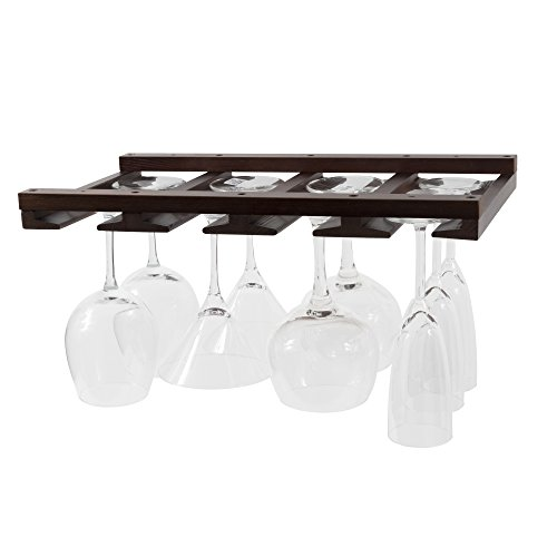 Rustic State Eze Stemware Glass Rack Makes Dull Kitchens or Bar Perfectly Fits 6-12 Glasses Under Cabinet Easy to Install with Included Screws Great Hanging Bar Glass Rack (Chestnut Stained)