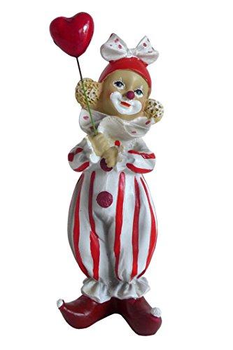 Niedliche Dekofigur Clown rot-weiß mit Schleife Karneval Köln Harlekin Deko Figur