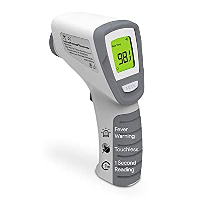 Wide Plus Digital Forehead Thermometer - No Touch Instant Read Infrared Thermometer with Colored Fever Alert - for Adults and Babies