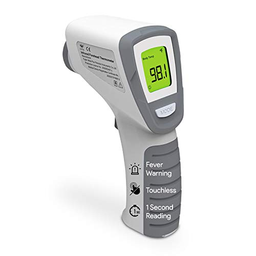 Instant Digital Forehead Thermometer - Non Contact Infrared Thermometer for Fever Body Temperature and Surface or Food Temp - 1 Second Reading - for Babies and Adults - Color Coded Fever Indicators