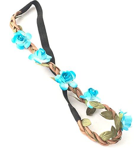 Haarband Haarschmuck Leder geflochten Blumen Flower Stirnband Hippie,9 Farben nach Wahl,super schön (Light Blue)