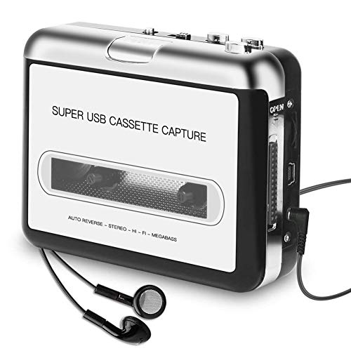 Cassette Player Portable, Kassettenrecorder to MP3 Converter CD Musik/Walkman Tapes Recorder über USB Kompatibel mit Laptops & PC mit Kopfhörer
