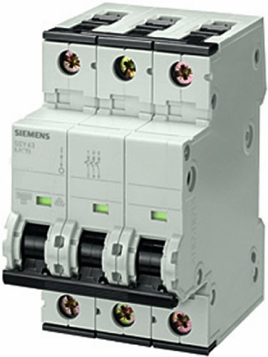 Siemens 5SY43637 extra bescherming, UL 1077 Rated, 3-polige breaker, 63 ampère maxium, activeringskarakteristiek C, DIN-railmontage