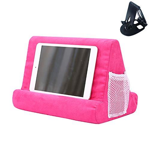 Soporte para tableta con bolsillo de red y soporte para tableta de varios ángulos de color aleatorio, soporte para rodilla, rodilla, sofá y cama, soporte universal para teléfono (rosa)