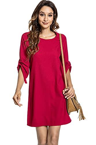 Voqeen Vestido Mujer Casual Verano Playa Fiesta Mini Vestidos Cuello Redondo Media Manga túnica Superior autoprueba Camiseta Vestidos de Cóctel de Noche