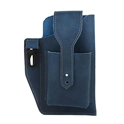 Retro Belt Waist Men's Bag, New 2021 Sports Tactical Waist Bag LeatherMobile Phone Bag (Blue)