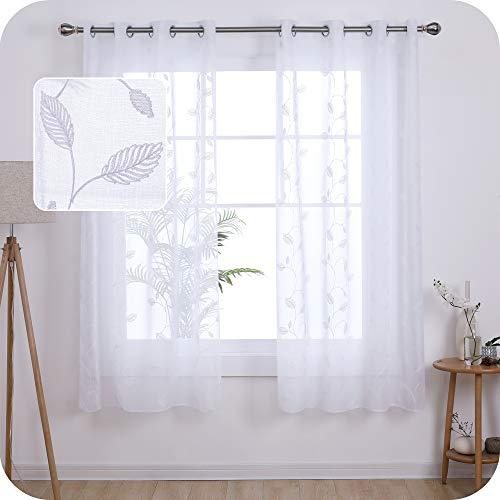 UMI. by Amazon 2 Stück Gardinen Leinenoptik Transparent Ösenvorhang Vorhangschals mit Blätter Stickerei 175x140 cm Weiß