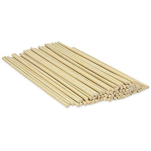 Juego de 50 varillas de espiga de bambú | Palitos artesanales de madera | Long Crafting Dowels | Pinchos de palo decorativos | 50 palos de bambú | Varillas para tacos | Pukkr