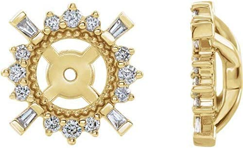 14K Yellow Gold 1/6 CTW Diamond Earrings Jackets with 4.9 mm ID Accented Earrings Jackets