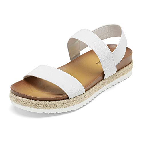 DREAM PAIRS Women's White Elastic Strap Espadrille Flatform Platform Sandals Size 11 M US Rosan