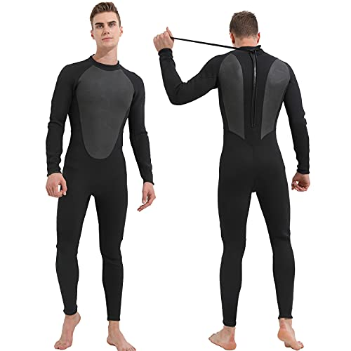 HIYIRUI Traje de Neopreno para Hombre 3mm de Neopreno Traje de Buceo de Cuerpo Completo de protección UV de Manga Larga de una Pieza Traje de baño para Snorkeling Surfing Buceo Kayak Jet Skiing,M