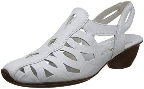 Rieker Damen Sandalen, Frauen Sandaletten, Riemen elegant feminin Leichter Absatz weiblich Lady Ladies Women's Women Woman,Weiß(Weiss),41 EU / 7.5 UK