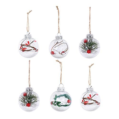 Stobok - 6 bolas de Navidad transparentes para decoración de árbol de Navidad