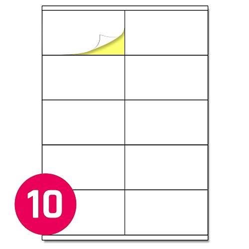 105 x 57 mm, 25 Blatt, A4 Aufkleber Etiketten Selbstklebend Bedruckbar - 10 Stück pro Blatt