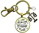 Gutsy Goodness Law School Graduation Keychain Change The World Lawyer Graduate Justice Scales Jewelry
