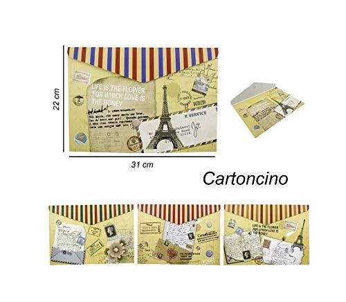 takestop® Documentenmap voor briefpapier Set 3 stuks fantasie briefkaart A4 met messing envelop voor documenten, materiaal uitwerper, school, kantoor