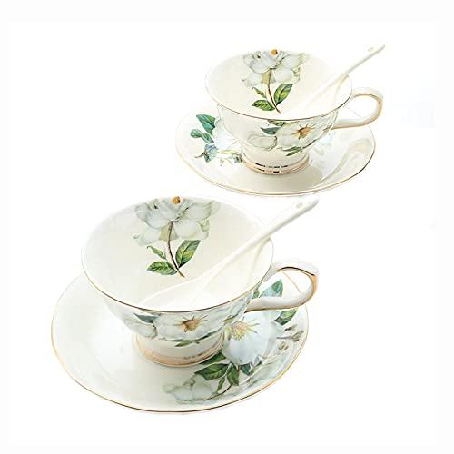 ErZhuiZi Tazas de Café Vintage Juego de Cuchara y Platillo con Borde Dorado Tazas de Porcelana para Capuchino Tazas de Café de Porcelana