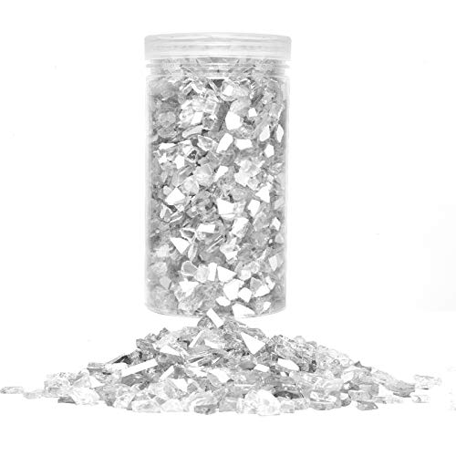 COYMOS Crushed Glass for Crafts - Sparkle Crystals Crushed Glass for Resin Art/Vase Filler/Home Decorations, 1 Pound