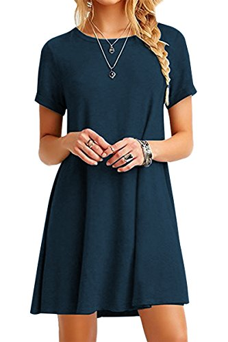 YMING Damen Lockeres Kleid Lose Blusenkeid Kurzarm Lange Shirt Casual Strickkleid Midi,Dunkelblau,L/DE 40