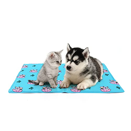 Toozey Tappetino Refrigerante per Cani Gatti con Auto-Raffreddamento - Non tossico Gel Attivato alla Pressione, Tappetino Rinfrescante per Cani AntiGraffio/Impermeabile/Antiscivolo, Blu, M 50 * 65cm