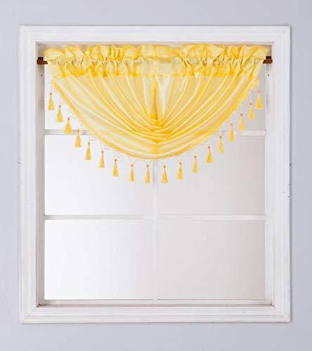 1PC Waterfall Valance for Curtains & Drapes Rod Pocket Beaded Curtain Valence(Yellow)