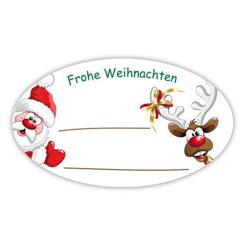 Weihnachtsaufkleber Weihnachtssticker Frohe Weihnachten - Weihnachtsmann mit Rentier oval 60 x 35 mm, 100 Stück auf Rolle, Haftpapier glänzend
