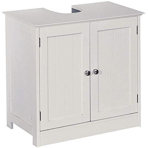 Home Discount Priano - Armario de baño para Debajo del Lavabo, se coloca de pie sobre el Suelo, para Almacenamiento, Color Blanco
