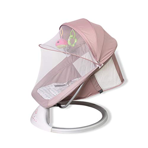 YYSYN Bedside Crib/Baby Rocking Chair,Intelligent Shaker,With Mosquito Net And Canopy,Adjustable Swing Range,Aluminum Alloy Bracket,Khaki, Blue, Gray