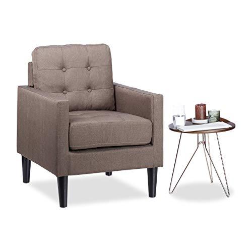 Fauteuil Cocktail Retro années 50 chaise salon vintage Lounge tissu coussin HxlxP: 86 x 67,5 x 74 cm, marron