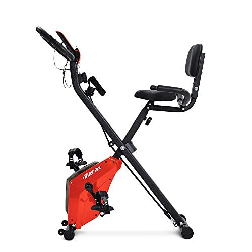 Coraiee Bicicleta estática X con sensores de pulso, bicicleta de fitness, con consola LCD, 8 niveles de resistencia, asiento acolchado y respaldo para casa, oficina