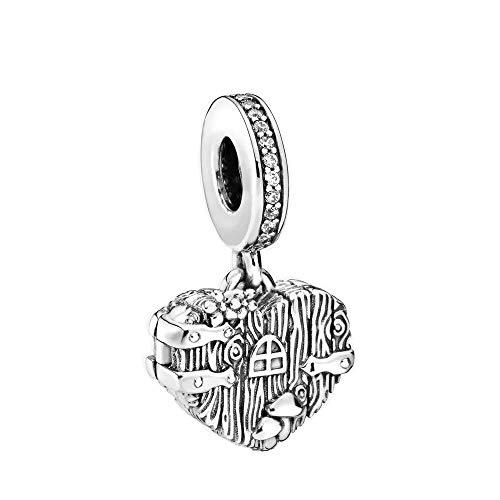 Desconocido JCaleydo - Corazón Caja Árbol Plata de Ley 925 con *Caja Regalo* Compatible con Pulsera Pandora