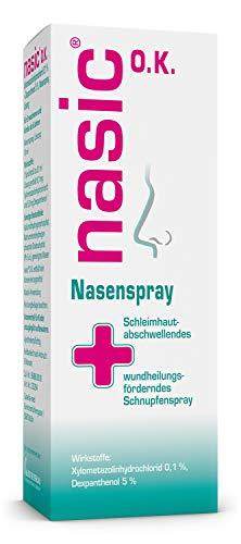 nasic O.K. Nasenspray mit dem Wirkplus – Abschwellendes Schnupfenspray ohne Konservierungsstoffe für Erwachsene & Schulkinder – Nasenspray mit Xylometazolin & Dexpanthenol – 10 ml Lösung