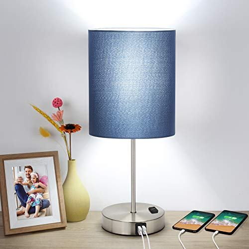 Touch Control Table Lamp, 3 Way Dimmable Bedside Desk Lamp with 2 USB Ports & AC Outlet, Blue Fabric Shade Modern Nightstand Lamp for Bedroom Living Room, 60W 5000K Daylight LED Bulb Included (Silver)