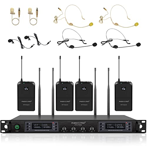 Wireless Microphone System, Phenyx Pro Quad Channel Cordless Mic Set with Four...