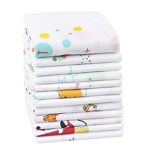Houlife 100% Cotton Children's Handkerchief Soft Cartoon Hankerchieves Small Hankies for Girls Boys Students Kids 12 PCS, 13.7x13.7''
