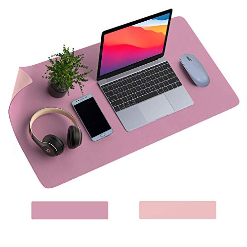 """Dual-Sided Desk Pad, Non-Slip PU Leather Desk Mat, Waterproof Desk Blotter Protector, Laptop Desk Pad, Ultra Thin Mouse Pad, Desk Writing Mat for Home and Office (Pink/Purple, 31.5"""" x 15.7"""")"""