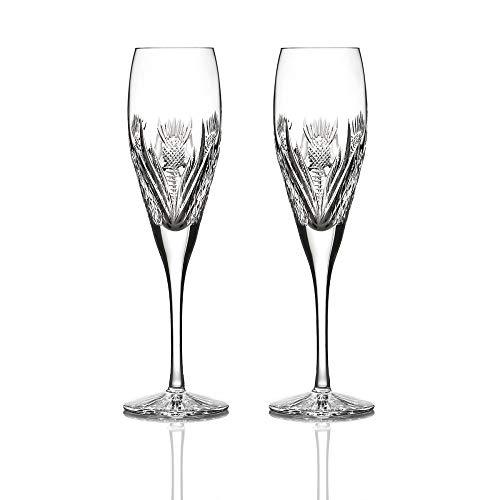 Eburya 2 x Scottish Thistle Sektglas - Handgefertigtes Kristallglas mit Diamantschliff