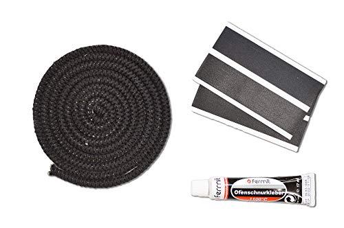 Kamindichtung Scheibendichtung Kordeldichtung Set 2m, ø 6mm inkl. Kleber & Abbinder passend für verschiedene Wamlser Kaminofen Modelle