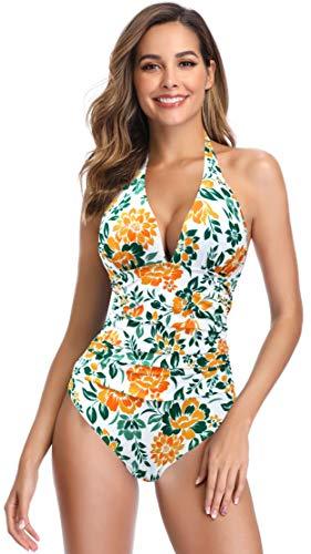 SHEKINI Damen Einteiliger Bikini Blumenmuster Badeanzug Tief V-Ausschinitt Bauchweg Raffung Monokini Große Größe (Small, Blumen-Geld)