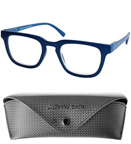 Gafas de Lectura para Nerd Cristales Rectangulares, Funda Gratis, Montura el Plástico (Azul) de Hombre y Mujer +1.0 Dioptrías