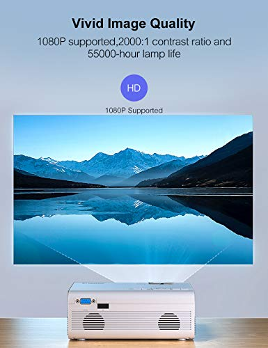 Crosstour Projector, Mini Portable Video Home Projector Support Full HD 55000 Hours LED Lamp Life Home Cinema Compatible with Surround Sound USB MicroSD VGA PC PS4