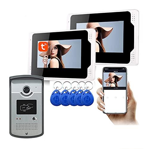 Timbre con video WiFi, APP Tuya de 7 pulgadas, desbloqueo de videoportero con visión nocturna 1080P, intercomunicador, cámara + 2 monitores